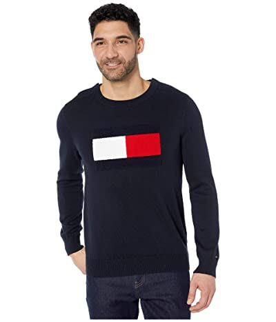 Tommy Hilfiger Adaptive Sweater with VELCRO(r) Brand Closure at Shoulders (Sky Captain) Men