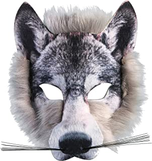 Wild Animal Fancy Dress Party Outfit Costume Accessory Realistic Fur Face Mask