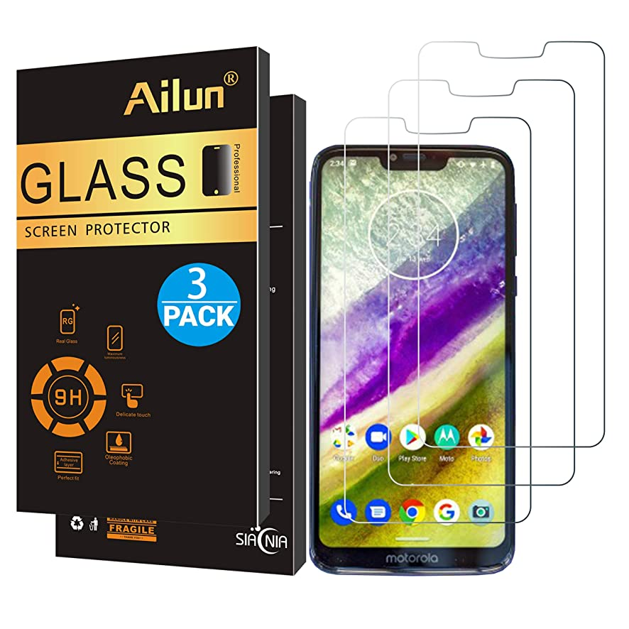 Ailun Screen Protector Compatible with Moto G7 Power,[3 Pack],9H Hardness Tempered Glass Screen Protector for Motorola Moto G7 Power,Bubble Free,Anti-Scratch&Oil Stain Coating,Case Friendly