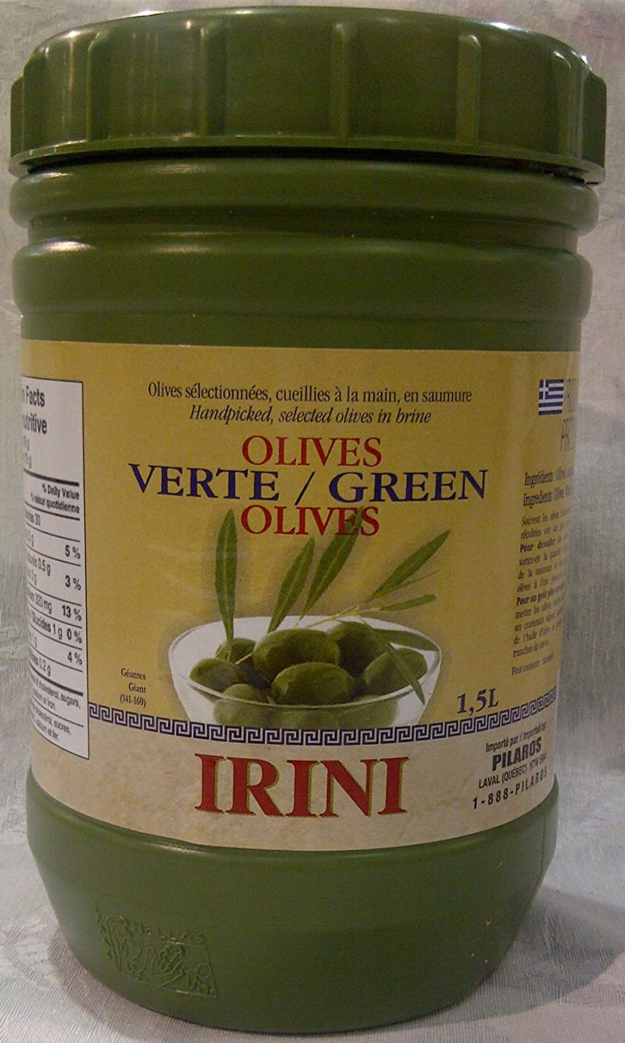 Irini Green Omaha Mall Olives Giant Plaastic container in 1.5L Challenge the lowest price of Japan ☆