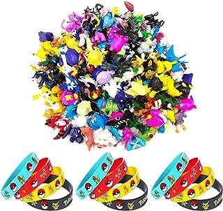 OMZGXGOD - 24 pcs Pokemon Mini Action Figures,12 Pokemon Bracelets Kids & Adult Party Celebration,Party Decorations Supplies Bundle Favors Pack