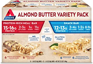 Atkins Almond Butter Meal and Snack Bar Variety Pack. Light and Crispy Protein & Fiber Bars Made with Real Almond Butter (4 Flavors, 24 Bars).