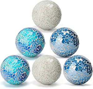 DomeStar Decorative Ball Set, 6PCS 2.4 Inches Mosaic Glass Orbs Centerpiece Balls Glass Balls