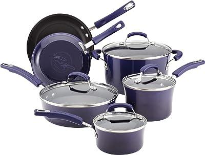 Rachael Ray 12800 Brights Nonstick Cookware Pots and Pans Set, 10 Piece, Purple Gradient