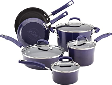 Rachael Ray Classic Brights Hard Enamel Nonstick 10-Piece Cookware Set, Purple Gradient