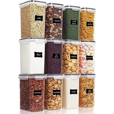 Vtopmart 2L boîtes de Conservation Alimentaire sans BPA de Nourriture en Plastique avec Couvercle,Ensemble De 12+24 Étiquettes,pour Céréales,Farine(Noir)