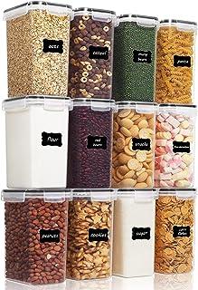 Vtopmart 2L boîtes de Conservation Alimentaire sans BPA de Nourriture en Plastique avec Couvercle,Ensemble De 12+24 Étique...