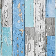 "Caltero Wood Plank Wallpaper 17.7"" × 118"" Blue Distressed Wood Wallpaper Peel and Stick Wood Grain Contact Paper Vintage f..."