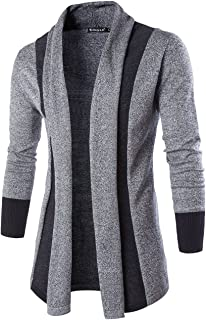 uxcell Men Shawl Collar Contrast Color Knit Cardigan