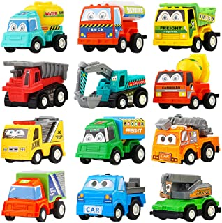 Pull Back Car,12 Pack Assorted Mini Plastic Construction Vehicle Set, Car Truck Toy for Kids, Boy, Girl, Child Birthday Party Favors, Goody Bag, Prizes, Pinata Filler Supplie