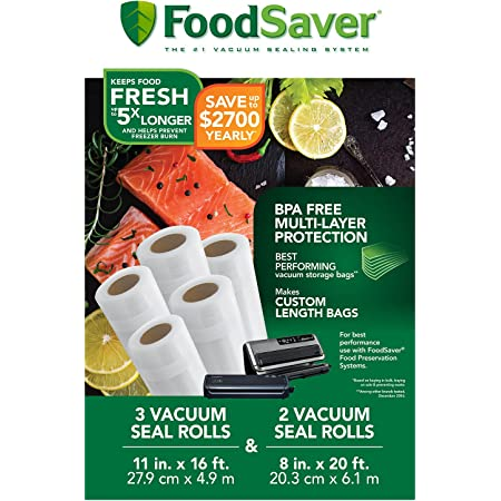 FoodSaver Rollos con Bolsas de Almacenamiento al Vacío, 8 y 11 pulgadas, Libre BPA, 5 unidades