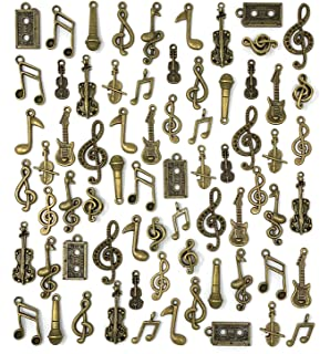 JIALEEY Music Charms 70pcs Multistyle Musical Instrument Notes Symbols Pendants DIY for Necklace Bracelet Earrings Jewelry Making and Crafting Antique Bronze
