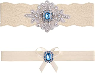 Wedding Garter Belt Blue Ivory White Lace Bridal Set