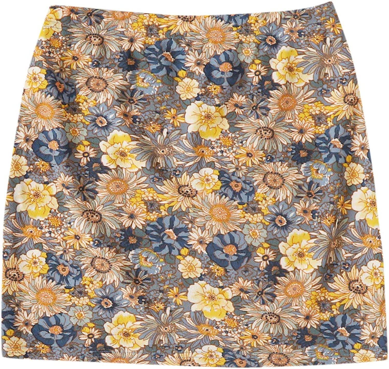 Milumia Women's Boho Floral Print Split Hem Casual High Waisted A Line Mini Skirts