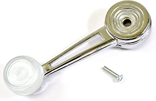 PT Auto Warehouse FO-1063O - Inside Door Window Crank Handle, Chrome with White Knob - Left or Right