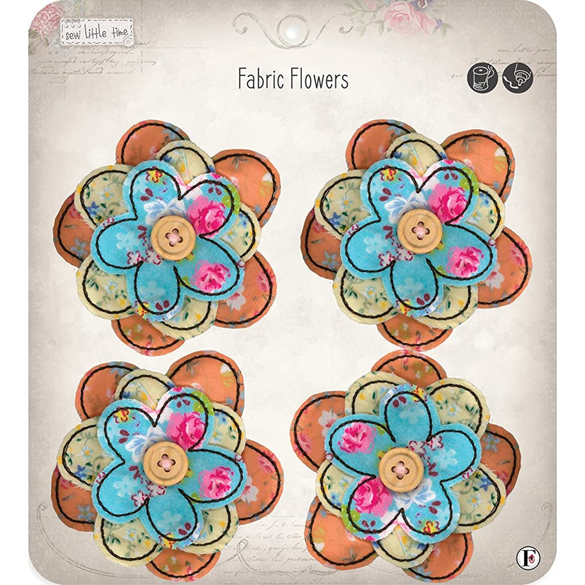 Fabric Editions Sew Little Time Sew-On Applique-Flowers