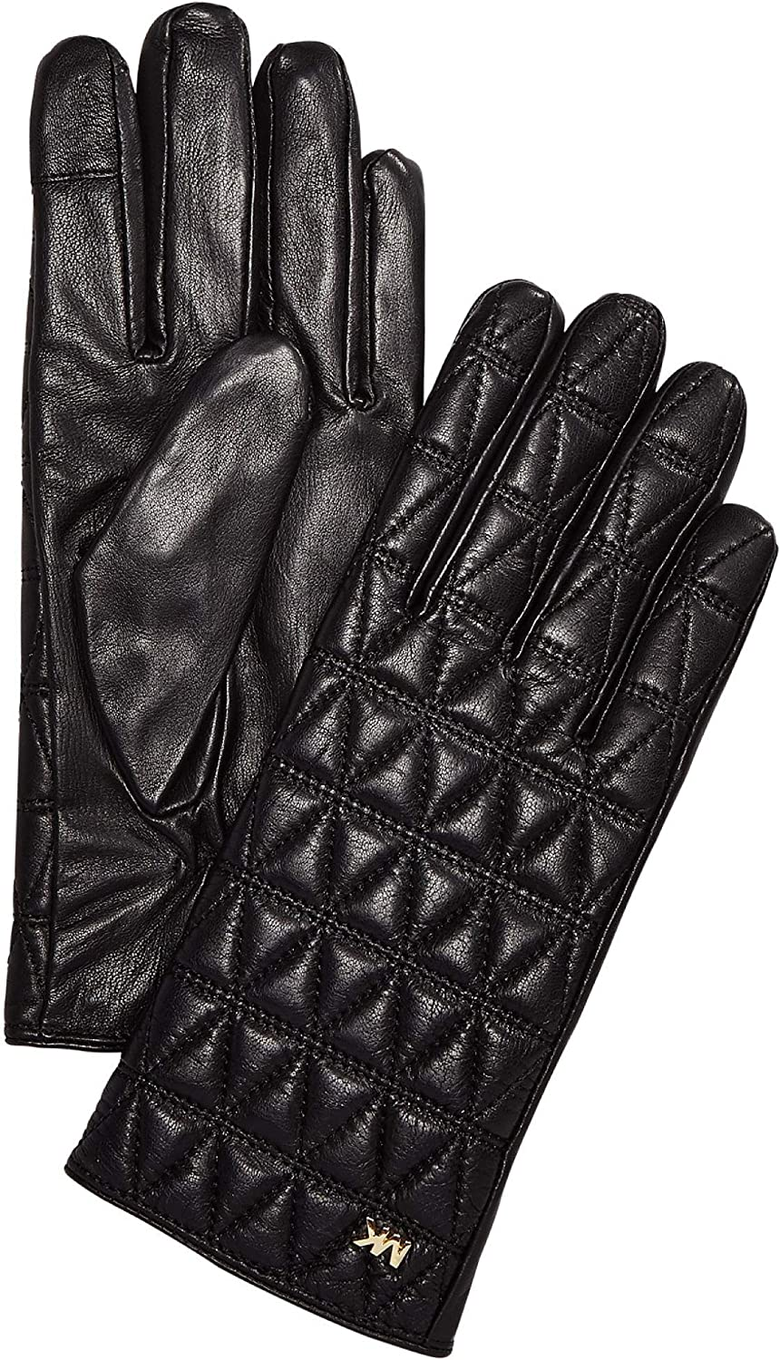 MICHAEL Michael Kors Women's Quilted Leather Gloves Black/Gold