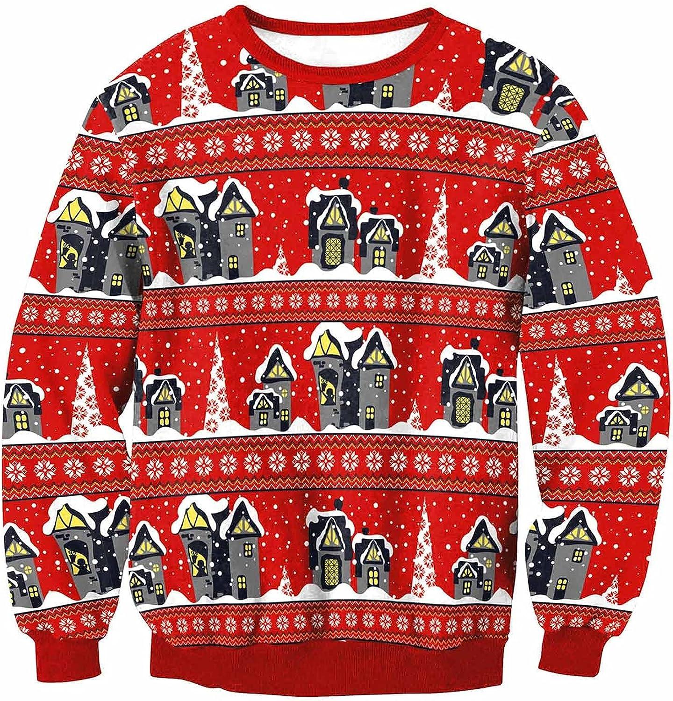 Fashion Womens Hoodies Pullover O-Neck Printing Christmas Sweatshirt Tops Loose Long Sleeve Graphic Tees