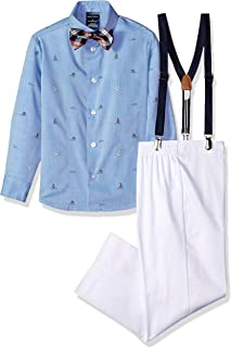 Boys' Suspender Set With Shirt, Pant, Suspenders, and Bow Tie