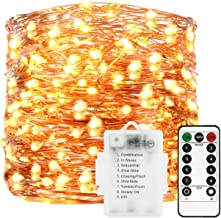 Sunfuny LED Fairy String Lights 66ft 200 Leds, Battery Operated Waterproof Copper Wire Starry Firefly Lights, Timer Dimmable 8 Modes Remote Control for Festival Indoor Outdoor Patio Decor, Warm White