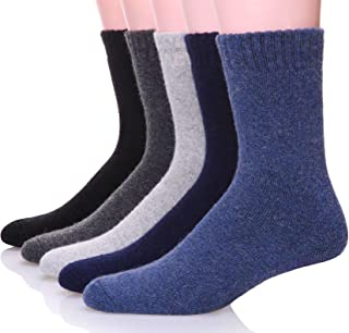 Mens Wool Socks Thermal Heavy Thick Winter Warm Fuzzy Cabin Socks For Cold Weather 5 Pack