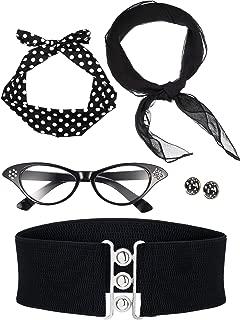 50's Costume Scarf Polka Dot Headband Earring Cat Eye Glasses Waistband