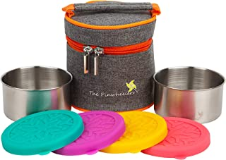 The Pinwheelers Meal Prep Containers w/Insulated Lunch Bag (2-Pc. Set) Stainless Steel Containers, Leakproof Silicone Lids | Reusable, Ecofriendly, Stackable, Portable | Store Healthy Meals