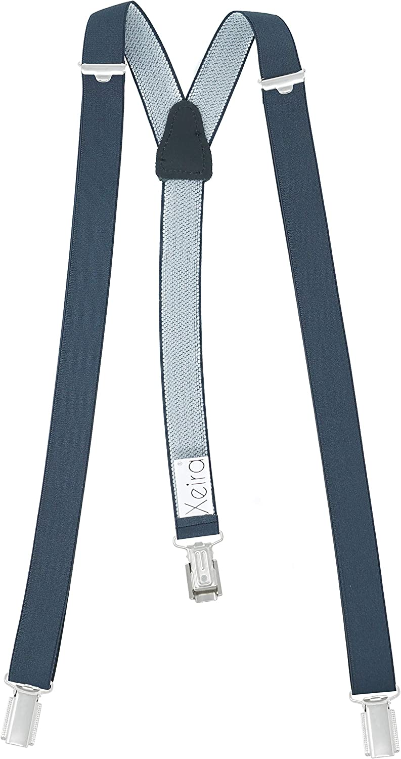 Xeira Mens Braces Suspender with 3 Strong Clips 25mm wide adjustable elastic