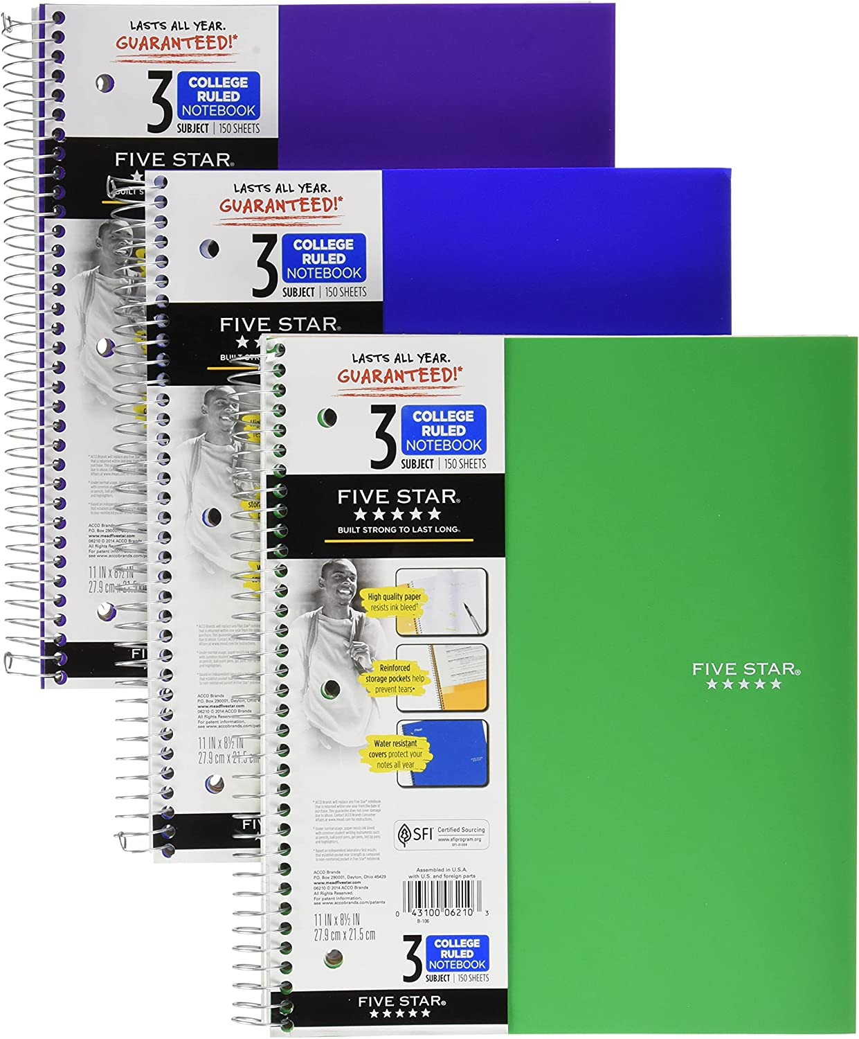 Five Star Spiral Notebooks 3 College Ranking TOP4 Paper Complete Free Shipping 150 Ruled Subject