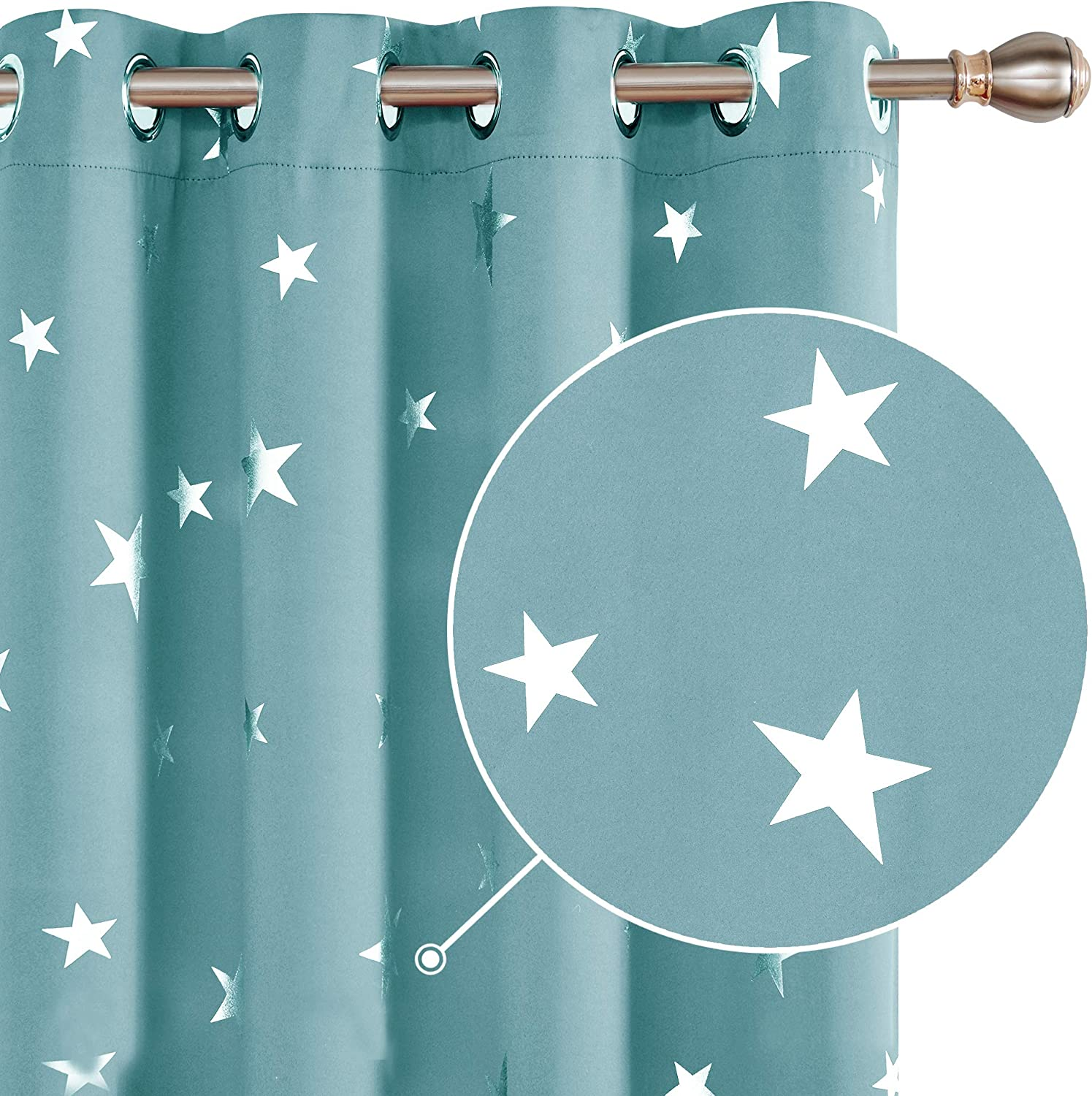 """Deconovo Super Soft Foil Star Printed Thermal Insulated Blackout Curtains Eyelet Soundproof Curtains for Bedroom Sky Blue W55xL70 Inches 2pcs 2x W55""""x L70"""" Sky Blue"""