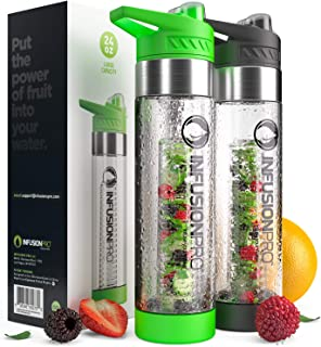 1222087444 Infusion Pro Premium Fruit Infused Water Bottle (2 Pack or 1 Pack) Insulating  Sleeves and Flavored Water Recipe eBook Included, Bottom Infuser Style with  ...