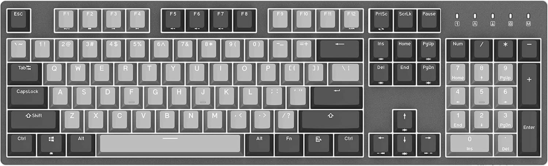 Durgod Taurus K310 Corona Mechanical Gaming Keyboard - 104 Keys - Double Shot PBT - NKRO - USB Type C (Cherry Silent Red, White Backlit)