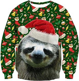 comprar comparacion RAISEVERN Christmas Sudaderas sin Capucha Jumpers, Sudaderas Divertidas para Hombre para Mujer Unisex Ugly Sweater 3D impr...