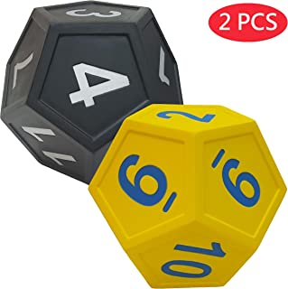 Macro Giant 6.7 Inch Arabic Number Polyhedral Foam Dice, 12-Sided, Jumbo, Set of 2, Yellow and Black, Parenting Activity, Kid Toy, Preschool, Math Learning, Team Games