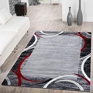T&T Design Alfombra De Salón Moderna Económica con Ribete Semicírculos Jaspeada Gris Rojo, Größe:120x170 cm