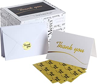 110 Highest Quality Elegant Thank You Cards in White with Envelopes and Stickers - Bulk Notes Embossed with Gold Foil Letters for Weddings, Graduations, Engagements, Business, Formal, Baby Shower, 4x6