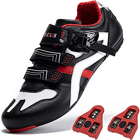 Road Biking Shoes with Cleats Fit for Peloton Bike Shoes Mesh Cycling Shoes Men Compatible with Look Delta SPD/SPD-SL Spin Sneakers Indoor Outdoor