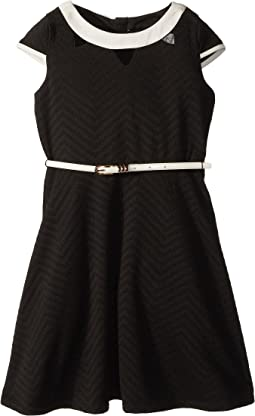 Cap Sleeve Fit & Flare Textured Knit Dress with Cut Outs (Big Kids)