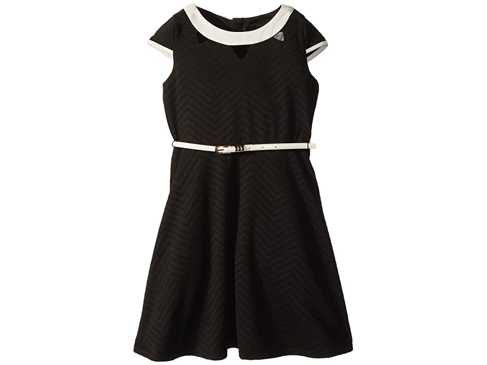 Us Angels Cap Sleeve Fit Flare Textured Knit Dress with Cut Outs (Big Kids) (Black) Girl