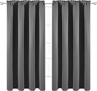 WONTEX Thermal Insulated Blackout Curtains, Back Tab and Rod Pocket Room Darkening Curtains for Living Room and Bedroom, Set of 2 Curtain Panels, 42 x 45 inch, Grey