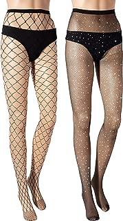 Fishnet Stockings Tights Pantyhose Rhinestone High Waist Stockings for Women