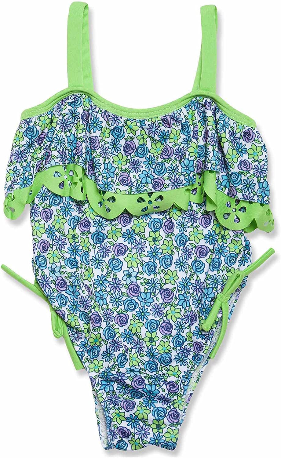 Penelope Mack Little Girls One-Piece Floral-Print Green and Blue Swimsuit Size 4