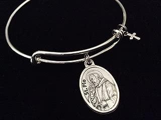 Patron Saint of Healing Saint Pio Rare Relic Medal Silver Expandable Bracelet