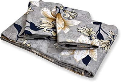 haus & kinder Leaves Interplay Modern Print 100% Cotton Double Bedsheet King Size with 2 Pillow Covers, 144 TC (Leaves Blue)