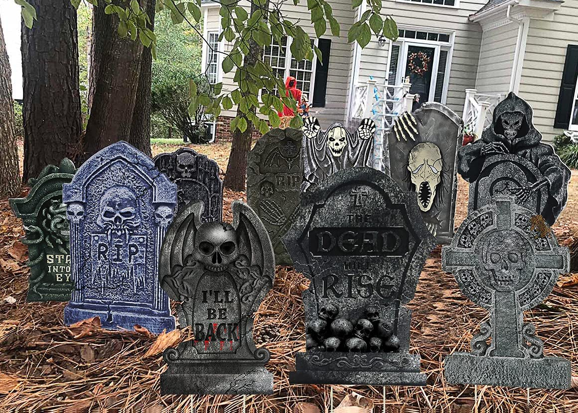 Animer and price revision 10PCS Halloween Tombstone Decorations Grave Columbus Mall Gravestone Decor for