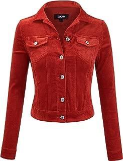 FASHION BOOMY Women's Classic Corduroy Jacket - Long Sleeve Cropped Trucker Coat - Button Down Outwear