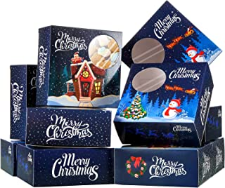 20 Pieces Christmas Cookie Boxes Christmas Bakery Boxes with Window for Present Giving Party Supplies