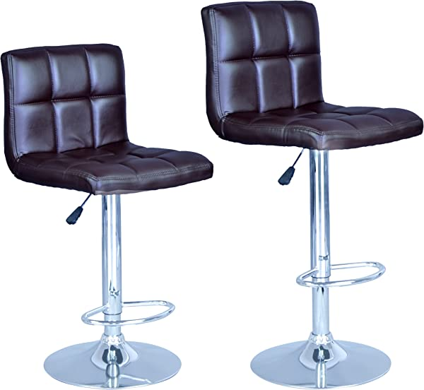 BestOffice New Brown Modern Adjustable Synthetic Leather Swivel Bar Stools Chairs B06 Sets Of 2
