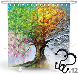 DESIHOM Fantasy Tree of Life Shower Curtain with 12 Metal Hooks Colorful Watercolor Season Shower Curtain Polyester 72X72 Inch