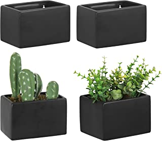 MyGift Black Ceramic Wall Hanging Succulent & Herb Planter Box, Set of 4